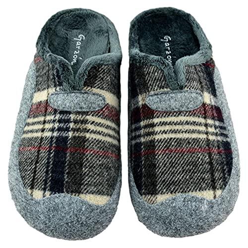 Garzón - Zapatillas DE Cuadros con Plantilla EXTRAÍBLE Y Forro DE Pelo. 507280 Sintético Hombre Color: Gris Oscuro Talla: 43