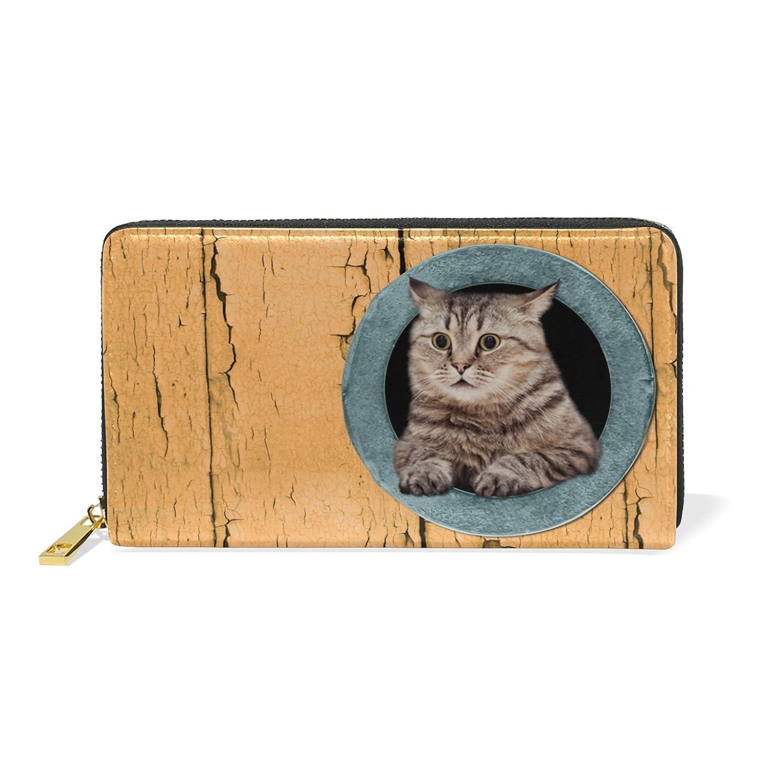 状況識別使用法マキク(MAKIKU) 財布 レディース 長財布 本革 おしゃれ 大容量 ラウンドファスナー カード12枚収納 プレゼント対応 かわいい 猫柄 オレンジ