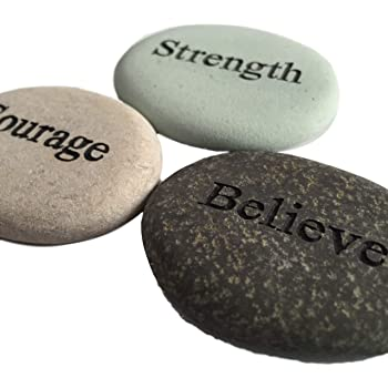 Courage Strength Believe Engraved Stones - 3 Stone Set
