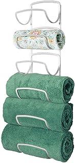 mDesign Práctico toallero de Pared de Metal – Guardatoallas de baño Inoxidable con 6 Compartimentos – Accesorios de baño para la Pared Que ahorran Espacio – Gris Claro