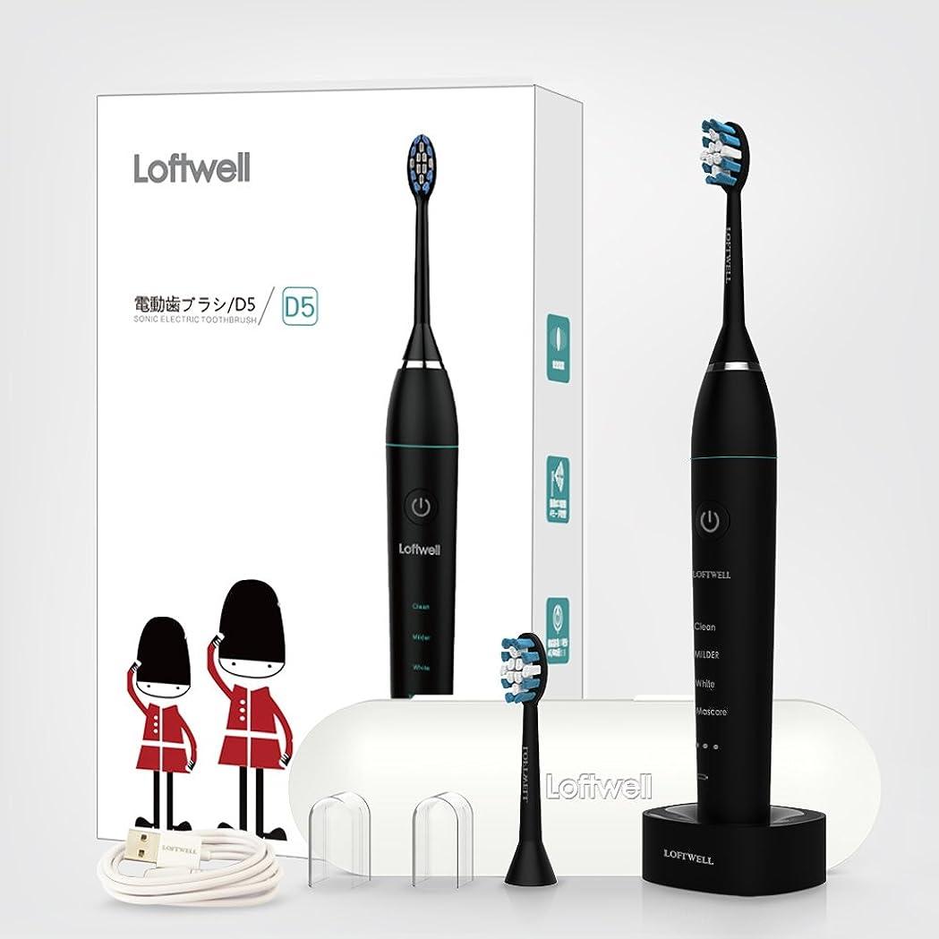感謝する販売計画似ているloftwell 電動歯ブラシ 超音波振動歯ブラシ 4モード 各モードの振動が3段階調節可 音波歯ブラシ 充電式 替えブラシ2本 舌ブラシ ラベルケース付き D5 ブラック (ブラック)