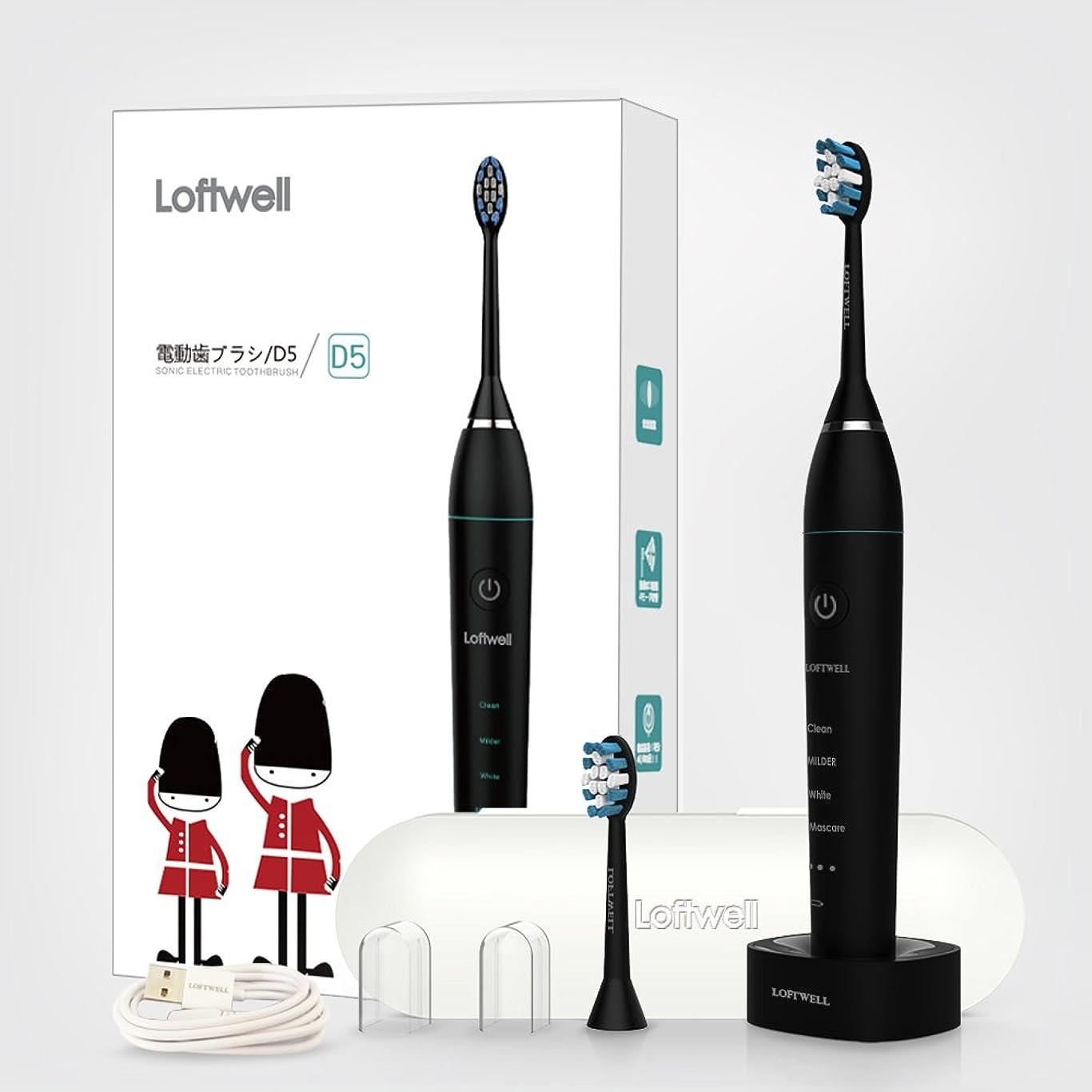 うがい眼仮説loftwell 電動歯ブラシ 超音波振動歯ブラシ 4モード 各モードの振動が3段階調節可 音波歯ブラシ 充電式 替えブラシ2本 舌ブラシ ラベルケース付き D5 ブラック (ブラック)