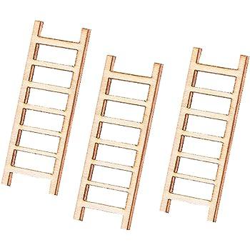 Rycnet - Escalera miniatura de madera para jardín de hadas (3 ...