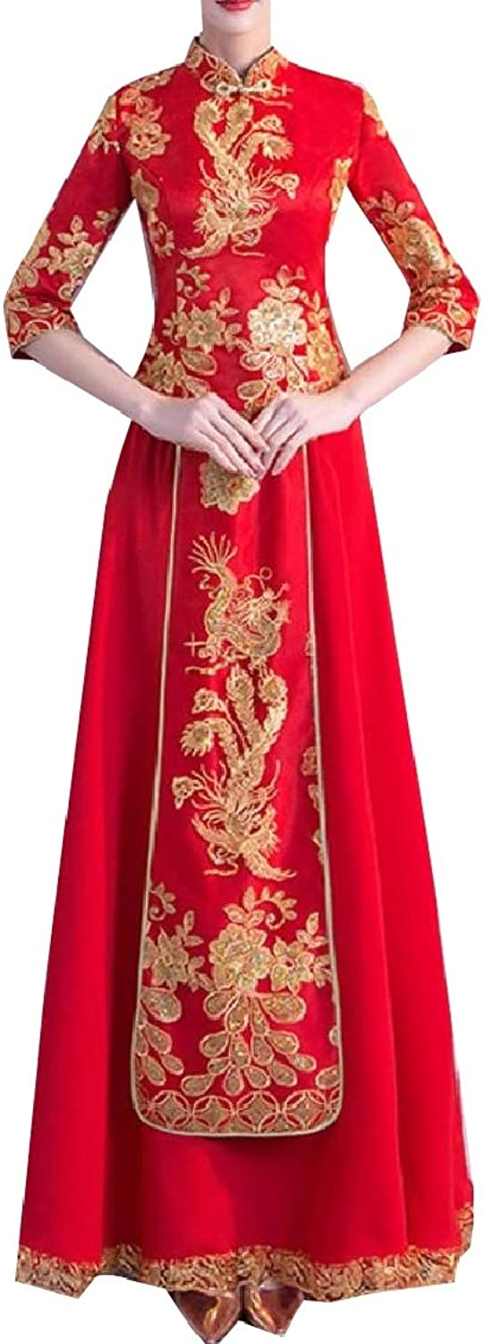 Coolhere Womens Traditional Wedding Cheongsam Tang Suits Full Dress 2 Piece