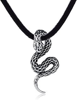 DonDon, collana in pelle, da uomo, lunga 50cm, con ciondolo a forma di serpente in acciaio inox con pietra bianca. Un sac...