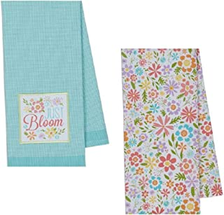 DII Coordinating Embroidered and Printed Cotton Dishtowel Sets of 2 Tea Towels (Just Bloom)