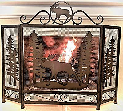 BestGiftEver Moose in Forest Metal Fireplace Screen Lodge Cabin Mountain Style Home Decoration from Marco International, Inc.