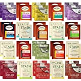 Organic Tea Bags Sampler Pack - Assorted Variety Gift Set - Stash, Twinings, Davidsons - Caffeinated, Caffeine Free, Herbal - Handmade 100% Cotton Pouch Included - 40 Count, 20 Flavors