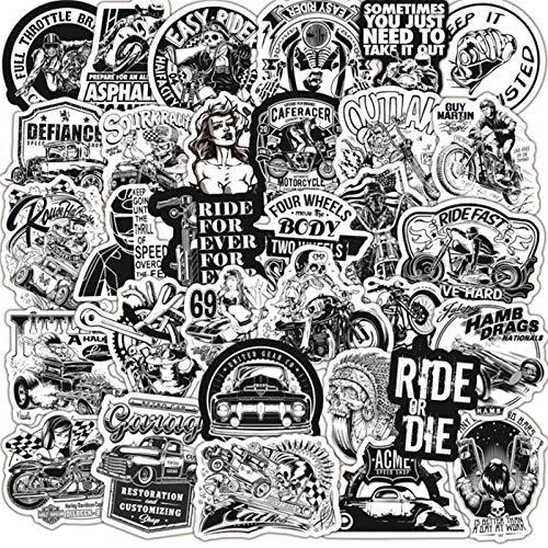 100PCS 30/10/50 PCS Blanco y Negro Coche clásico Motocicleta Carro Impermeable Casucho Pintada de Graffiti Pegatina Juguete al por Mayor estéticas (Color : 50PCS)