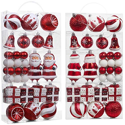 Valery Madelyn 40ct Sweet Candy Christmas Ball Ornaments Assorted Red White, Shatterproof Christmas Tree Ornaments Bulk Xmas Decoration, Themed with Tree Skirt (Not Included)