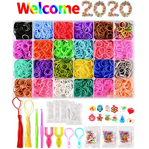 L-Hydrone Loom Rainbow Rubber Bands Kit for 6000+ 300 S-Clips, 28-Beads, 12 Silicone Charms, 2 Crochet Hooks, 2 Backpack Hooks, 2 Tassels, 2 Y-Loom for DIY Kids Adults Making Bracelet