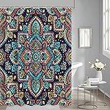 Mandala Shower Curtain Boho Floral Vintage Mysterious Paisley Henna Tattoo for Bathroom Curtain Decoration Waterproof Fabric