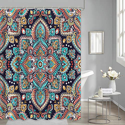 Boho Floral Shower Curtain for Bathroom, Mandala Paisley Shower Curtain Vintage Henna for Bathroom Curtains Fabric Waterproof