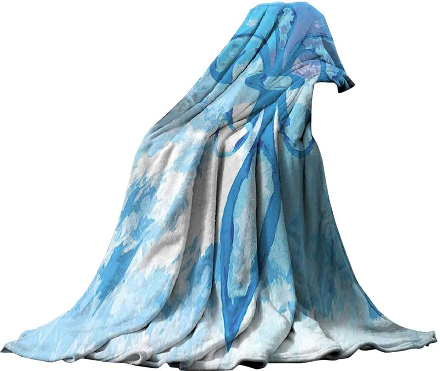 QINYAN-Home Super Soft Blanket (80 x60 ) Oversized Travel Throw Cover Blanket Fleur De Lis Decor Illustration of Lily Flower Like Frozen Heredic Nobility Emblem Queenly Style Print bluee.