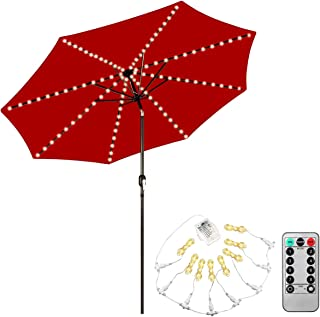 Patio Umbrella Lights,Naouis 104 LED Battery Operated String Lights with Remote Control for Patio Umbrellas Outdoor Use Camping Tents (Warm White)
