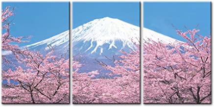 Mount Fuji with Cherry Blossom Canvas Wall Art Painting for Home Decor 3 Pieces Panel Landscape Paintings Modern Giclee St...