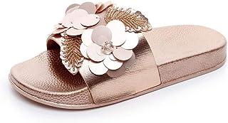 High heels Women Bright Slippers Flower Non-Slip Beach Flip Flops Shoes Indoor House Home Slippers Summer Flat Slides (Color : Gold, Size : 41 EU)