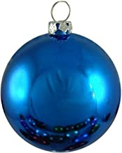 Queens of Christmas WL-ORN-BLKS-80-BL-UV Shiny Ball Ornament with Wire and UV Coating, 80mm, Blue