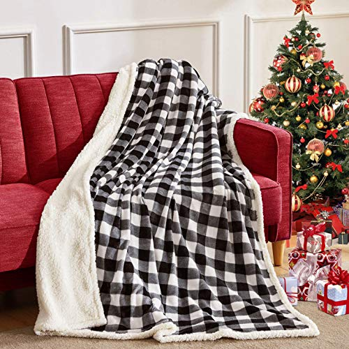 BEAUTEX Sherpa Fleece Throw Blanket, Super Soft Warm Buffalo Plaid Plush Blankets and Throws, Lightweight Cozy Fuzzy Blanket for Couch Sofa Bed (Black, Throw 50