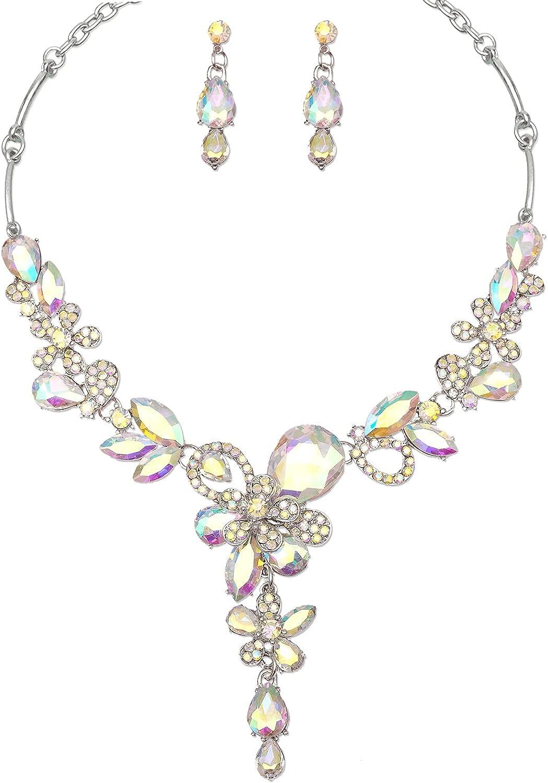 Roselina Women's Austrian Teardrop Crystal Flower Bridal Statement Necklace Earrings Brides Wedding Costume Jewelry Set