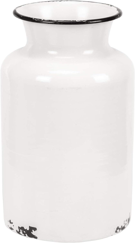 Blossom Bucket Distressed Milk Jug Style shop x 8 Inch Enamel White Japan Maker New 5