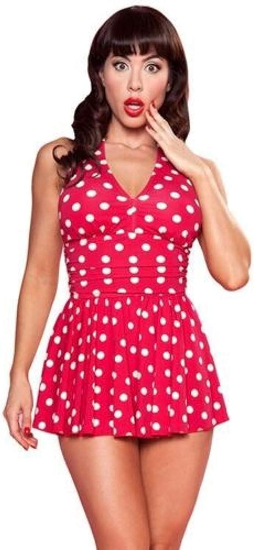 Esther Williams Marilyn 1 Piece Red Polka Dot Halter Skirt SwimSuit Retro