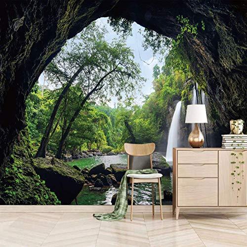 TDYNJJ Wandbild Fototapete 3D Effekt - Wasserfälle Höhlen Wälder Felsen - Vlies Tapeten Wandtapete Moderne Wanddeko Design Wand Dekoration Wohnzimmer Schlafzimmer Büro Dekoration