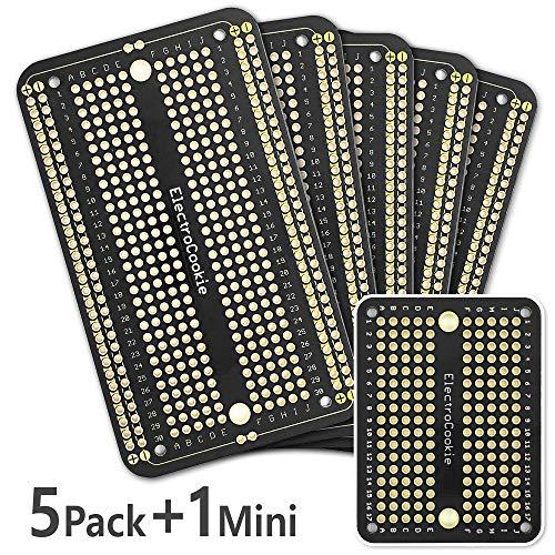 ElectroCookie - Placa de circuito impreso prototipo PCB para proyectos de Arduino y Electrónica, Chapado en Oro (5 Paquetes + 1 Mini, Negro)