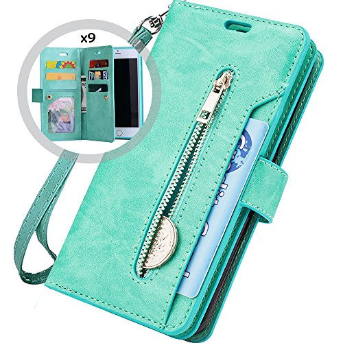 iPhone 6S Plus Wallet Case for Women/Men,Auker Trifold 9 Card Holder Folio Flip Leather Magnetic Wallet Case with Strap,Money Pocket&Kickstand Full Protective Zipper Purse for iPhone 6 Plus (Mint)