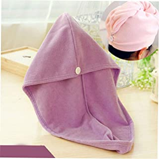 Super Absorbent dry hair cap Pink household products daily life supplies family familiar article of everyday use(Purple) J...
