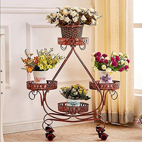 Udfybre Flower Pot Rack Mobile Salon Balcon Type de Plancher sur Roues en Fer Forgé (Couleur : D)