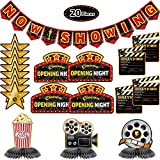 Kit de Decoración de Fiesta de Hollywood de 20 Piezas Banner Now Showing Centros de Mesa de Panal de Cine Recortes de Noche de Película para Fiesta de Noche de Cine