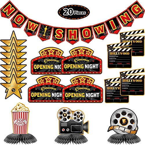 20 Pieces Hollywood Party Decoration Kit Now Showing Banner Movie Honeycomb Table Centerpieces Movie Night Cutouts