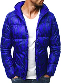Howely Mens Warm Casual Leisure Zip-Front Hood Thickened Winter Parka Jacket