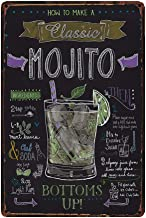 How To Make A Classic Mojito, Retro Embossed Metal Tin Sign, Wall Decorative Sign Cocktail 12