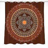 JOOCAR Design Duschvorhang, Mandala-Blumenmuster, Retro-Ornament-Muster, orange-braun, wasserdichter Stoff, Badezimmer-Dekor-Set mit Haken
