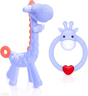 SHARE&CARE BPA Free 2 Silicone Giraffe Baby Teether Toy with Storage Case, for 3 Months Above Infant Sore Gums Pain Relief...