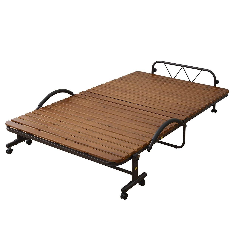 シソーラスオークションほのか山善 折りたたみベッド すのこ セミダブル 耐荷重 90kg 布団干し機能 通気性 コンパクト収納 固定ストッパー付き 手すり 組立品 ダークブラウン KSBB-SD(DBR)R