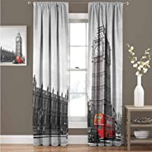 GUUVOR London Wear-Resistant Color Curtain Big Ben Tower Begining of Westminster Bridge with Black Cab and Red Bus Image Waterproof Fabric Curtain 52