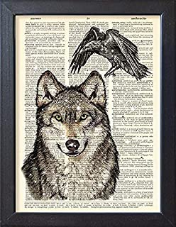 Wolf and Raven Print Winter Art Poster, Book Page Artwork
