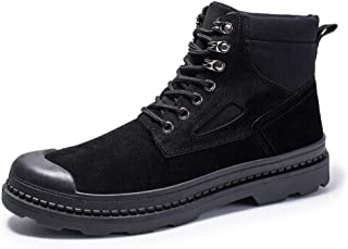 Xujw-shoes store, 2019 Mens New Lace-up Flats Mens Fashion Classic Ankle Boots for Men Work Boot Lace Up PU Leather Cloth Split Joint Wear Resisting Anti-Slip Collision Avoidance Toe Comfortable