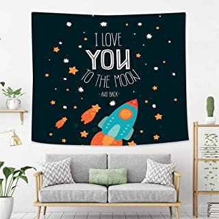 BEIVIVI Colorful Art Design Tapestry I Love You Rocket on The Road of Space Adventurist Cosmic Couples Happy Birthday Theme Wall Art Decoration for Bedroom Living Room Dorm, Window Curtain Picnic Mat