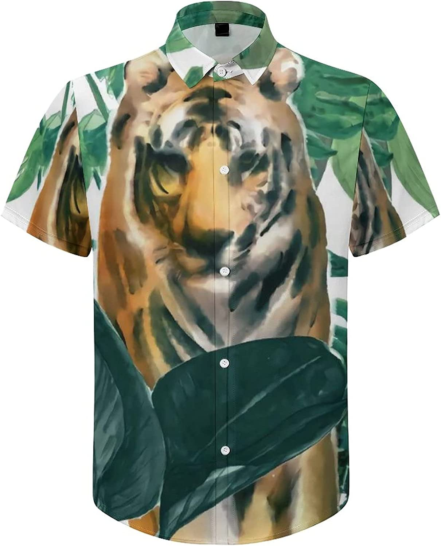 Men's Short Sleeve Button Down Shirt Jungle Tiger Green Leaves Summer Shirts