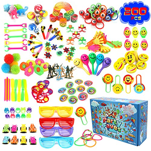 PARTY FAVES 200PC Party Favors for Kids Goodie Bags Carnival Prizes for Kids Classroom Pinata Stuffers Goodie Bag Fillers Treasure Box Toys