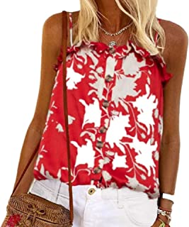 desolateness Women's Vest Tops Sleeveless Button Up Casual Print Vest Cami Tank Top