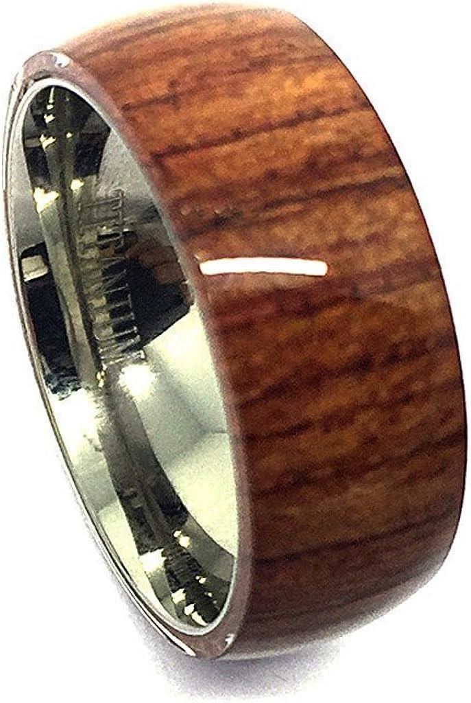 Tungsten Jeweler 8mm Titanium with Pure Brown Hawaiian Koa Wood Domed Top Wedding Band Ring ForMen Or Ladies