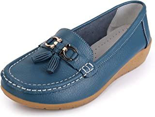 3b405d5b4885 labato Women s Cowhide Leather Casual Flat Driving Loafers Driving Moccasin  Shoes