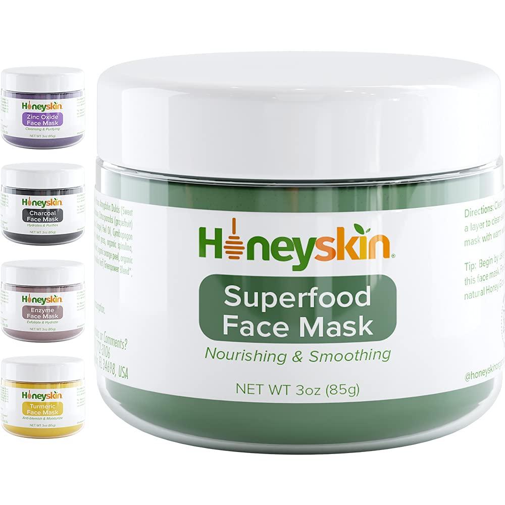 Organic Green Superfood Moisturizing Face Mask - Hydrating Face Mask for Sensitive Skin - Vegan Face Mask - Deep Pore Cleanser - Natural Skin Mask with Aloe Vera, Kaolin and Bentonite Clay Mask (3oz)