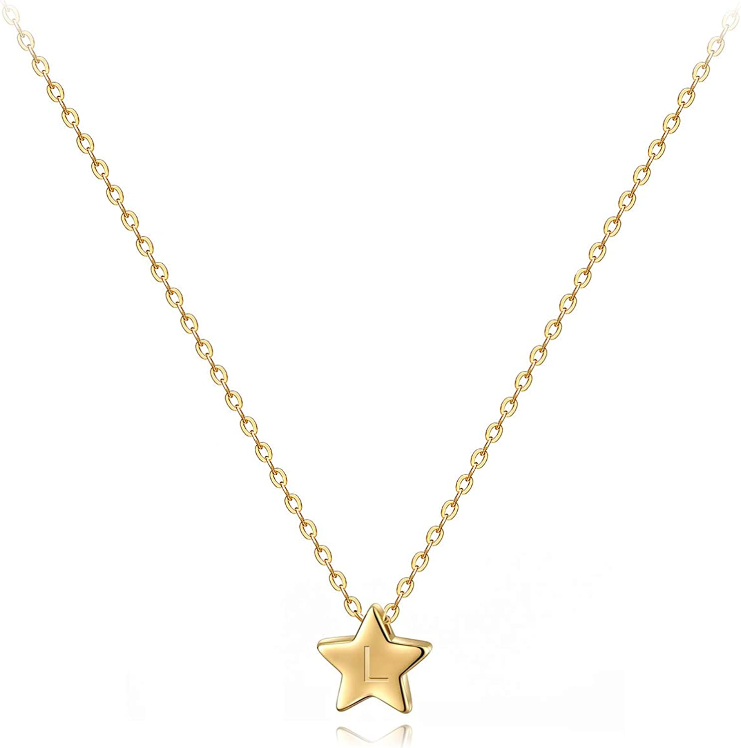 CITLED Women Initial Necklace Gold Star Pendant Engraved Alphabet Letter 14K Gold Filled Lucky Trendy Dainty Chain Boho Beach Simple Delicate Handmade Jewelry Gift