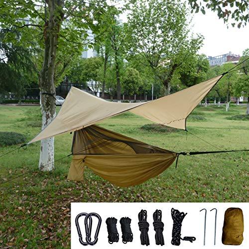 GLXQIJ Camping HäNgematte Mit Moskitonetz 2 Personen Dschungel Fallschirm Nylon Outdoor Reise Moskito Schlafen HäNgen Bett,Brown,270 * 140CM